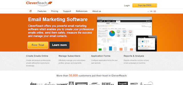 Screenshot der CleverReach Website