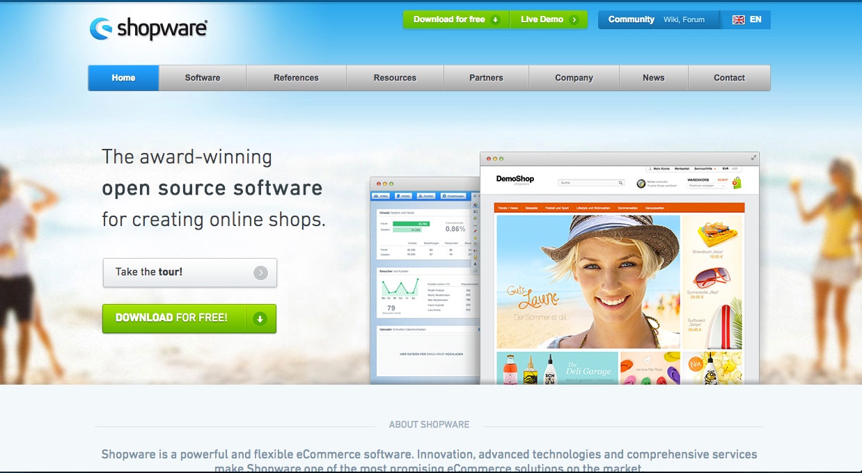 A screenshot of the shopware homepage