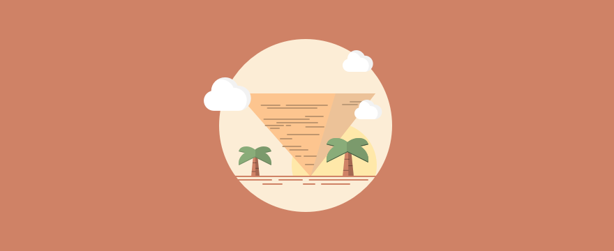 Cartoon of pyramid and palm trees