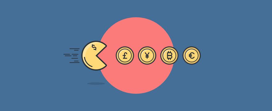 Ilustración tipo Pac-Man comiendo monedas – juegos de ventas
