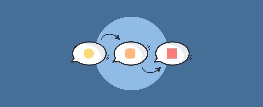 drei Sprechblasen, die einen Prozess darstellen - Headerbild für Blogbeitrag