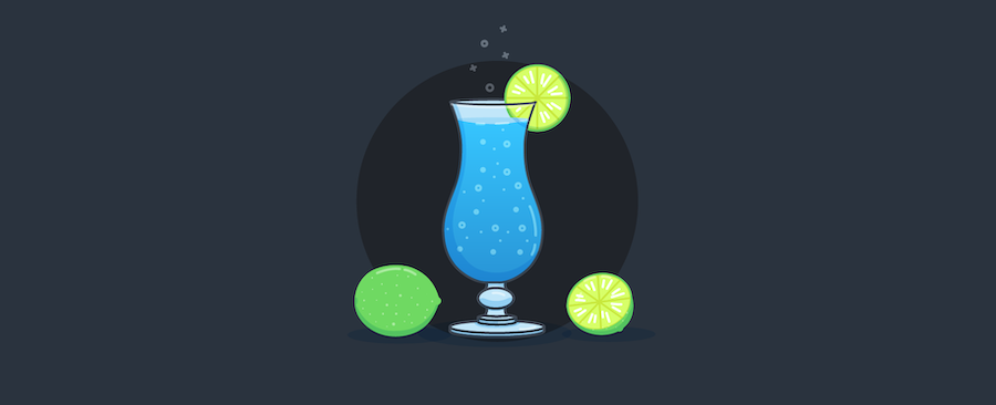 Blue Lagoon cocktail with a lime.
