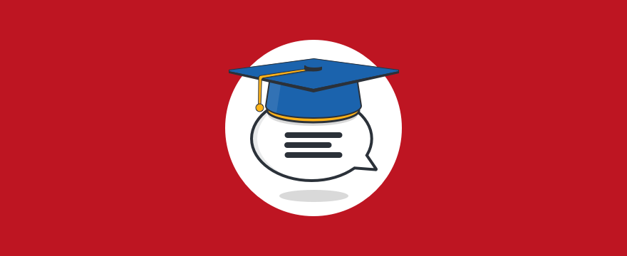 Chat bubble wearing graduation cap - header image for blog post on live chat in education