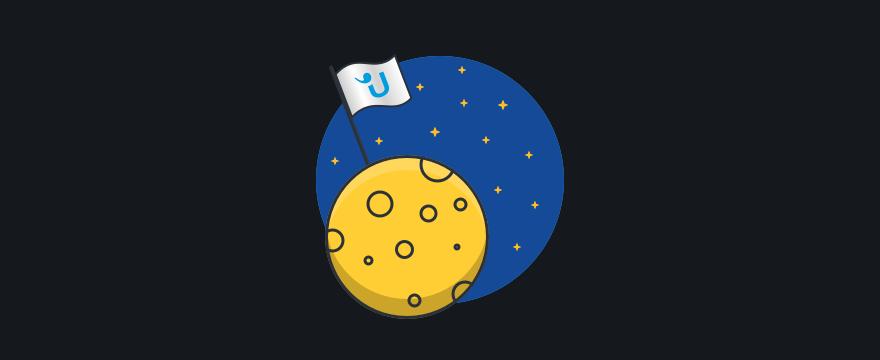 """Mond mit Userlike-Flagge – Headerbild für Blogbeitrag """"Live-Chat einrichten"""""""