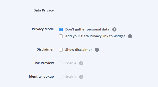 screenshot of Userlike chat settings data privacy mode
