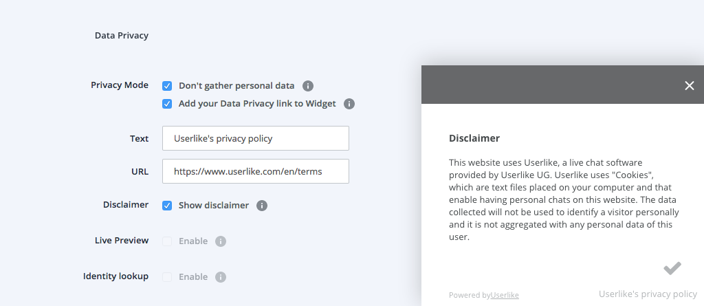 screenshot of Userlike chat settings data privacy disclaimer feature