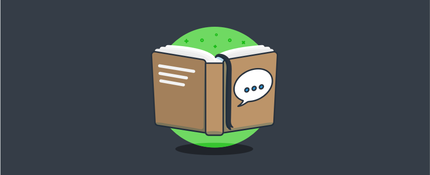 a book with a chat bubble on the cover – header image for blog post on live chat support