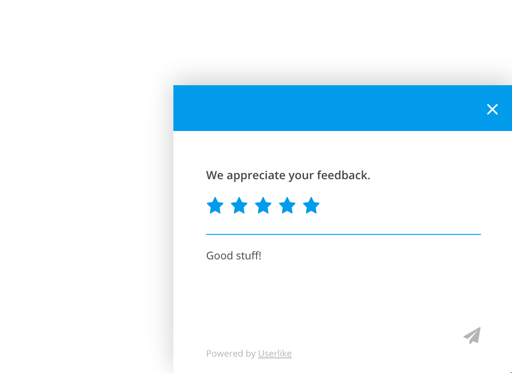 Screenshot of Userlike chat survey function.