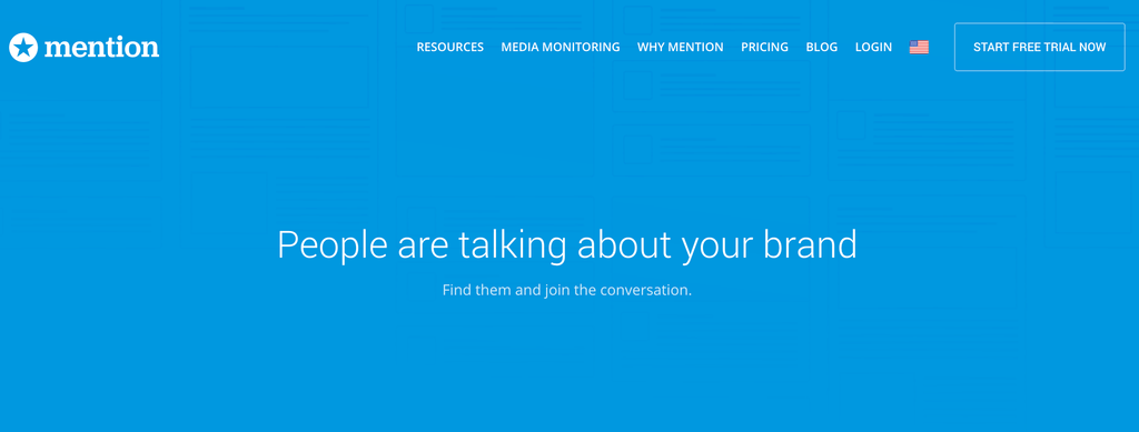 Screenshot of Mention website, a tool to track social media mentions.