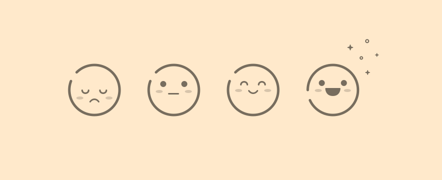 Emoji in different stages because of differing service quality.