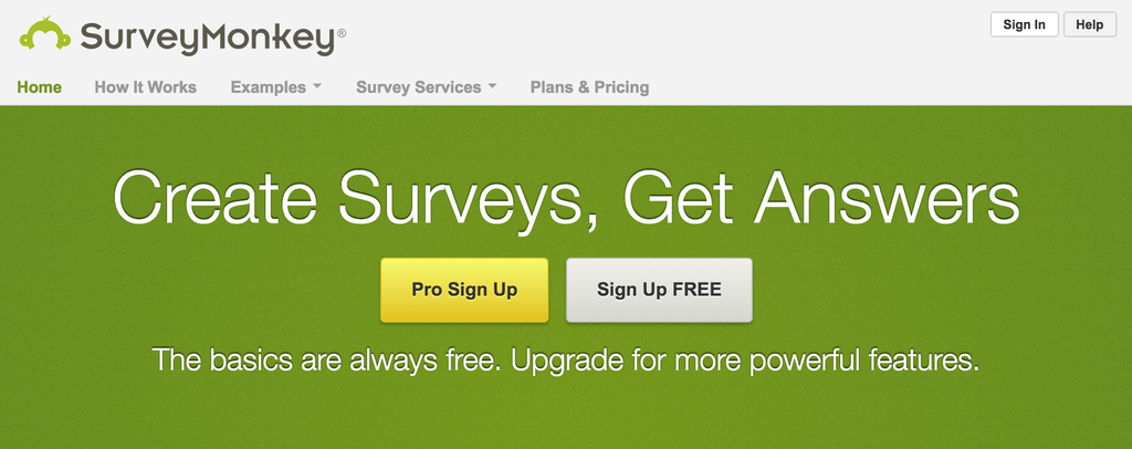 screenshot of survey monkey website
