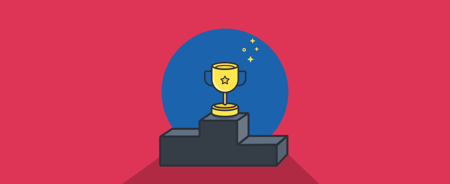 ein Podest mit einem Pokal – Headerbild für Blogbeitrag zu Messaging