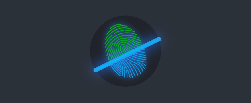 Fingerprint being scanned.