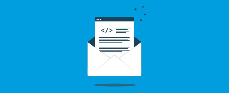 """Brief auf blauem Hintergrund: """"Headerbild für Blogbeitrag"""""""