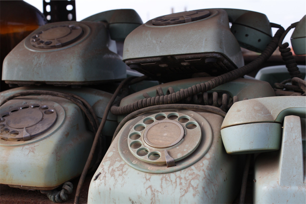 photograph picture of old telephones