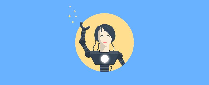 A female robot waving