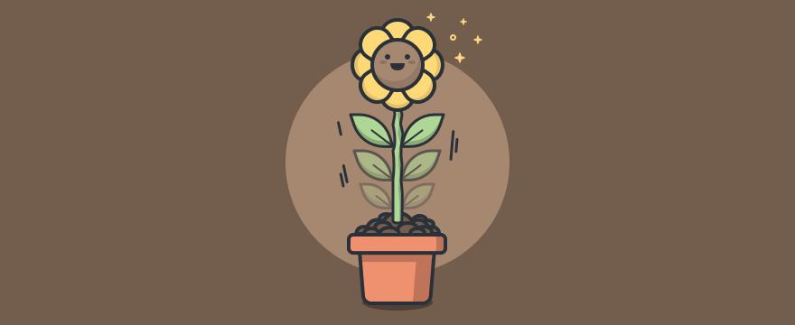 Flor en maceta que simboliza el crecimiento personal