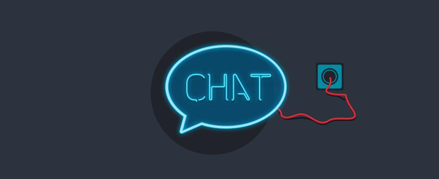 eine neon Chat-Bubble – Titelbild für Vergleich der besten Chat-Plugins für WordPress