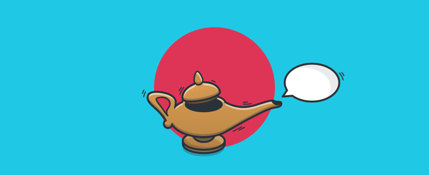 Magic lamp with proactive chat bubble.