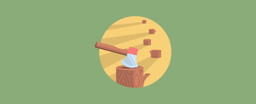 Cut down trees and an axe, symbolizing productivity.