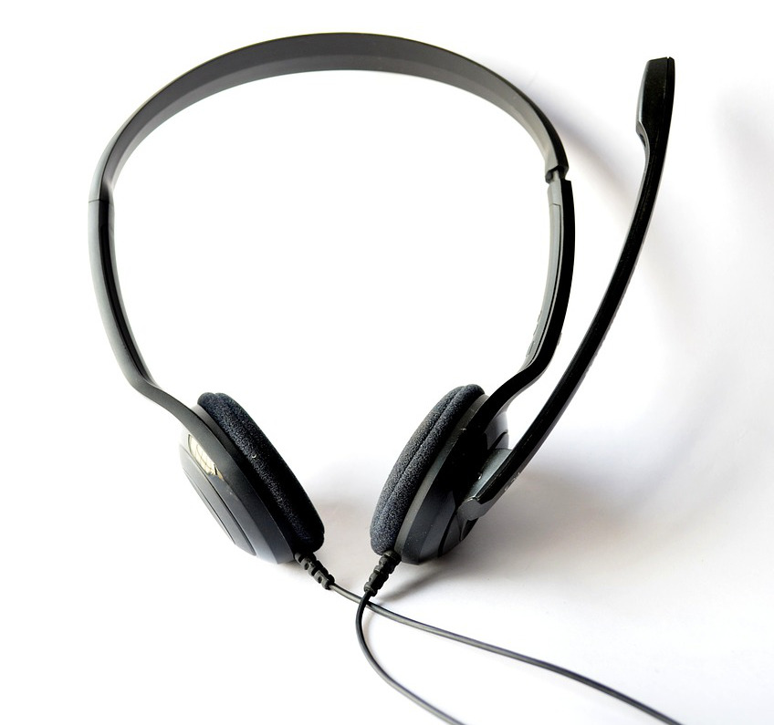 photograph picture of a headset customer service