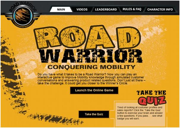 screenshot picture of Salesforce's Roadwarrior Training website gamification