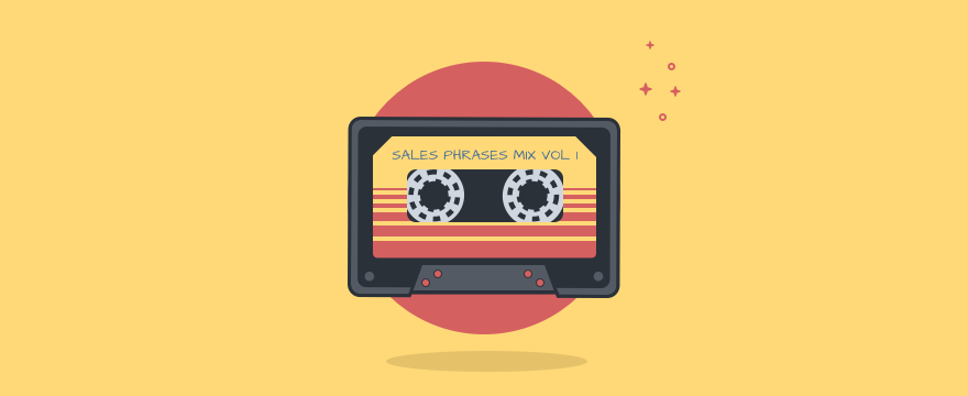 Visualization of a cassette tape, header image for sales catch phrases blog post.