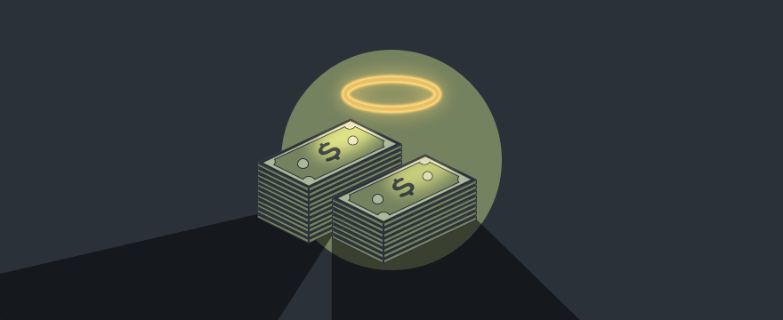 Bundles of money with a halo above them, header image sales manipulation blog post.