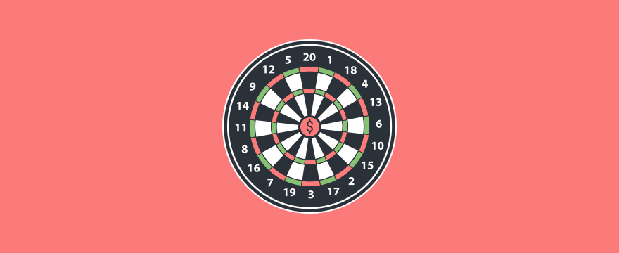 Visualization of a dart board with a dollar sine in the bullseye, header image of blog post Sales Skills Training.