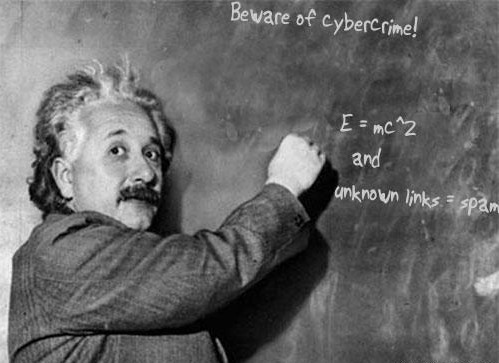 meme einstein writing on chalkboard cybercrime