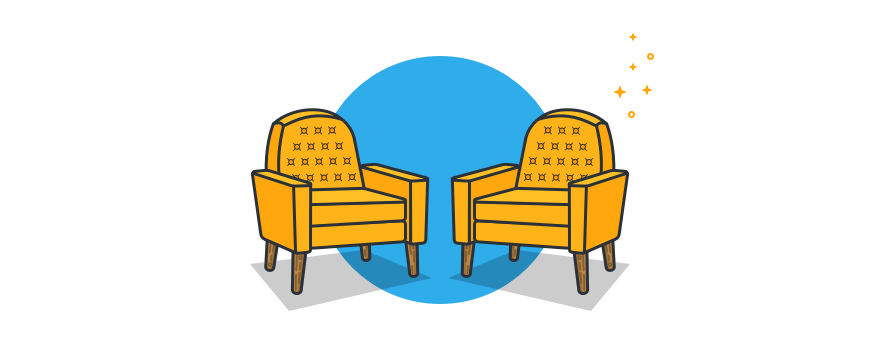 cartoon of two chairs