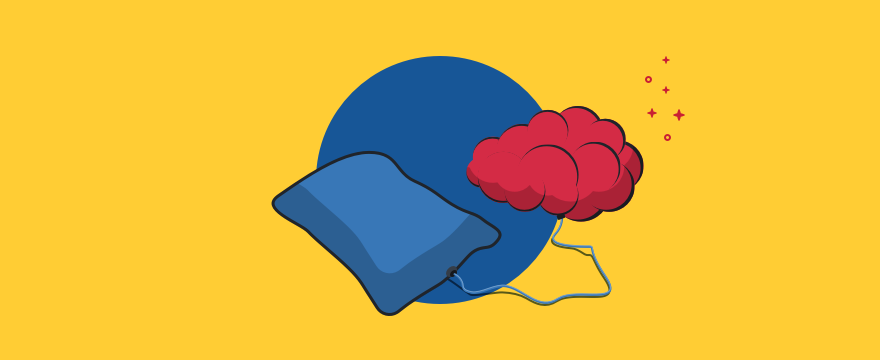 A brain charging energy from a pillow. Header image of the blog post about the connection of sleep and productivity.