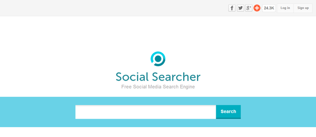 screenshot of website landing page social searcher