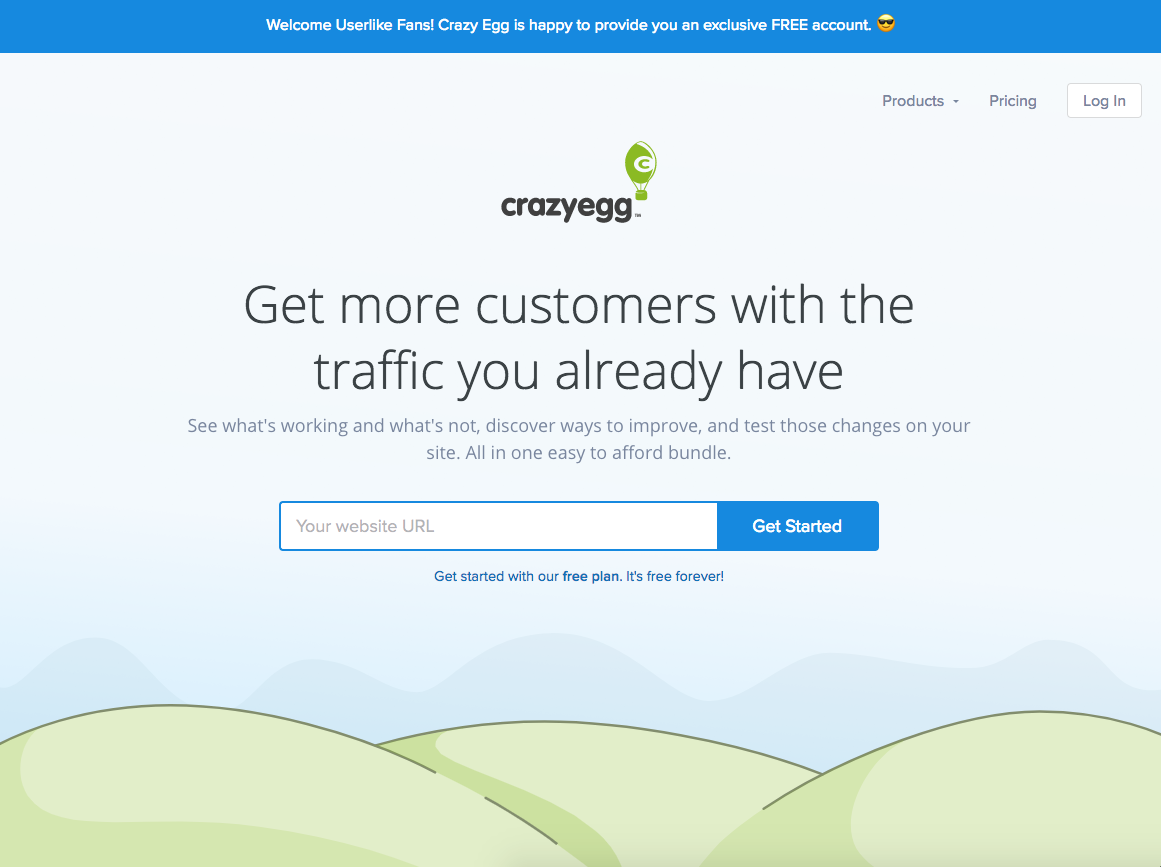 Screenshot of CrazyEgg's landing page.