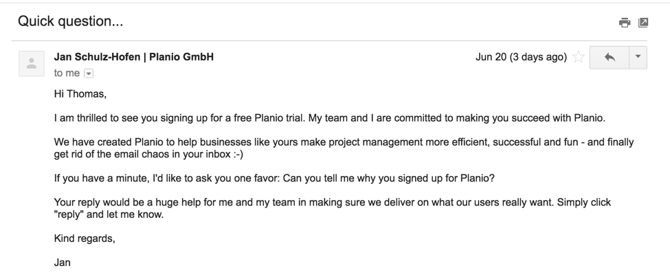screenshot Pianio onboarding email