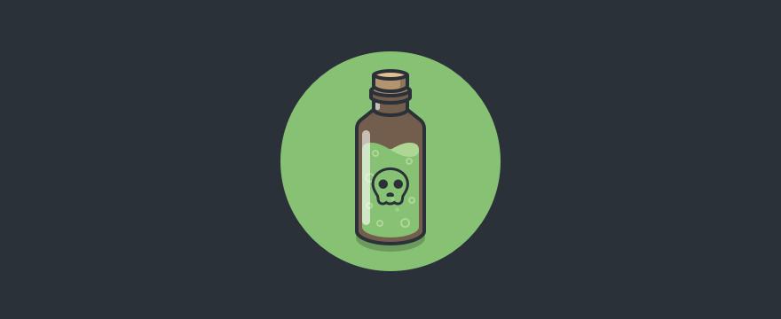 Eine Flasche mit grünem Trank, auf der ein Totenkopf ist - Headerbild für Blogbeitrag