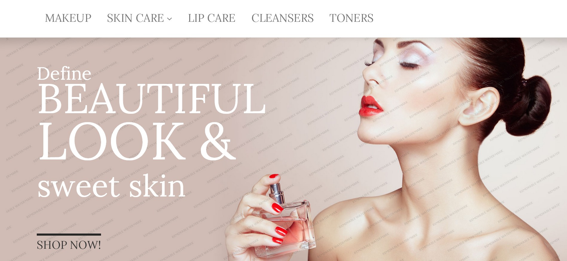 screenshot of cosmetics store webshop theme