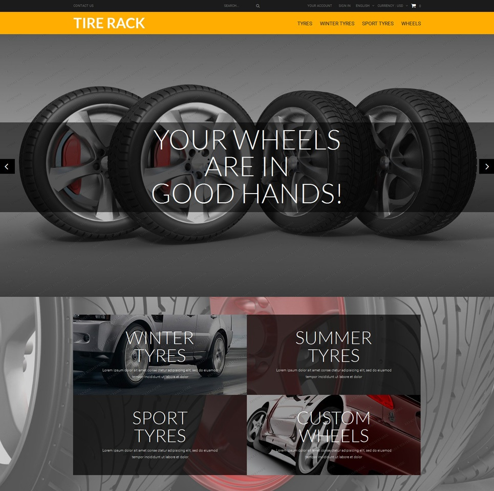 screenshot of wheel store webshop theme