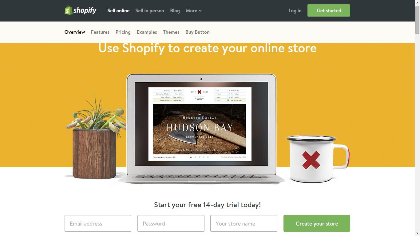 screenshot of shopify landing page