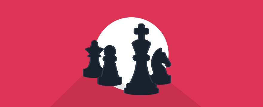 A visualization of chess pieces, header image for blog post about types of customers.