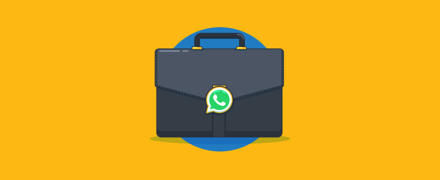 Business suitcase with WhatsApp logo.