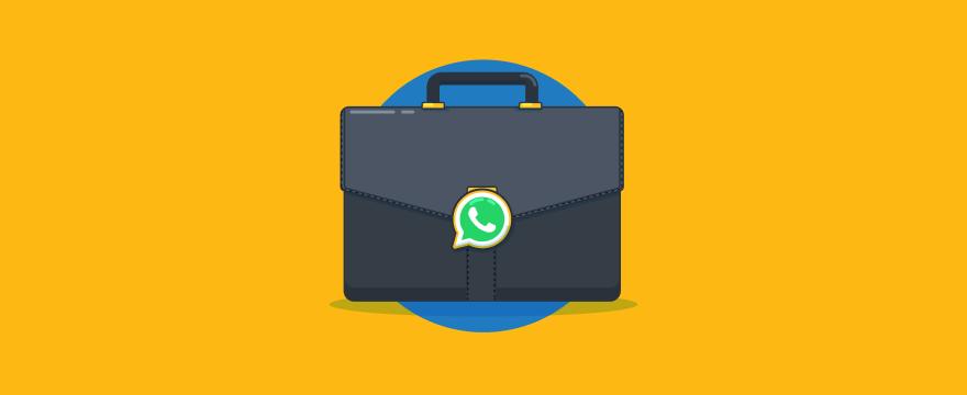 Aktentasche mit WhatsApp-Logo – Titelbild für Blogbeitrag zu WhatsApp für Unternehmen