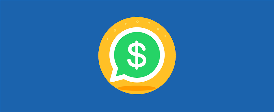 a dollar sign inside the WhatsApp logo – header image for blog post on using WhatsApp for sales