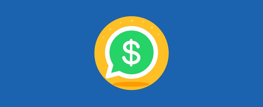 Dollarzeichen in WhatsApp-Logo – Headerbild für Blogbeitrag zu WhatsApp im Vertrieb