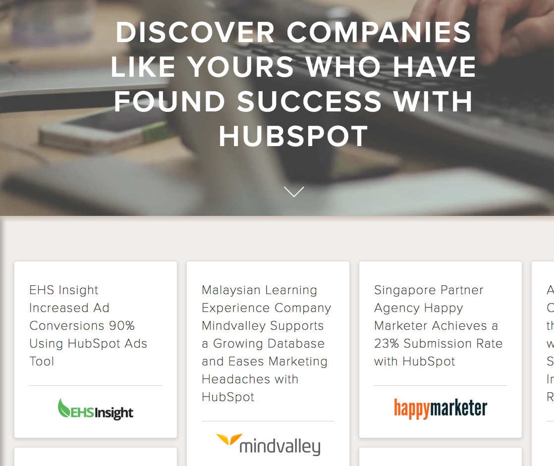 Hubspot's case study page