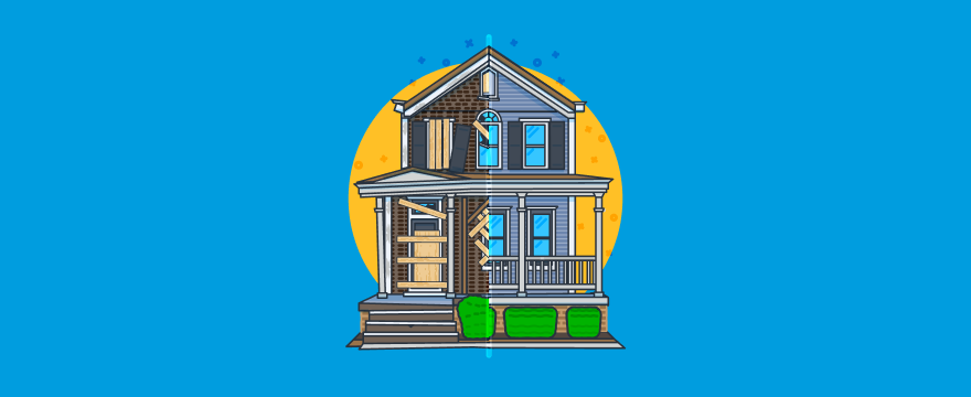 Website relaunch blog post header image showing a house that's split into a rundown and a renovated half.
