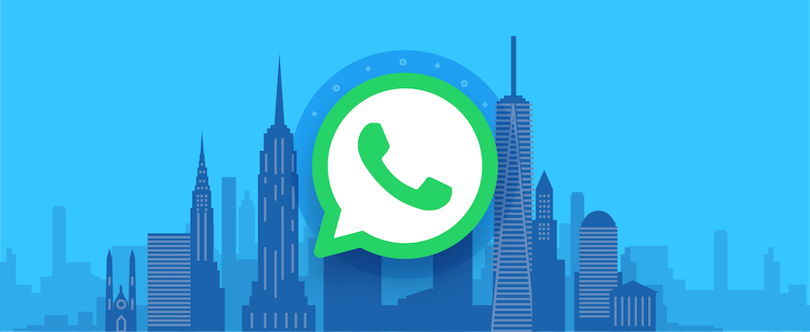 WhatsApp logo with skyscraper background.