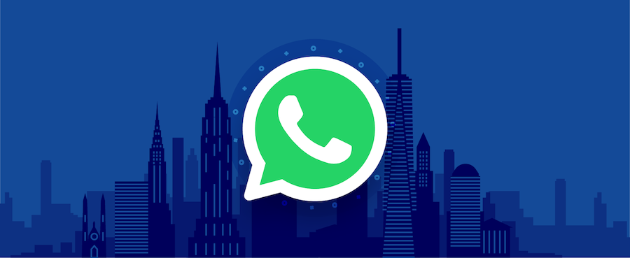WhatsApp logo in front of city skyline – header image for guide on WhatsApp Business API