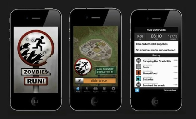 picture of three smartphones showing Zombies, Run! app