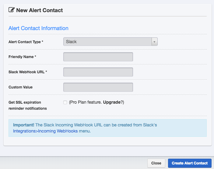 The form for adding a new alert contact